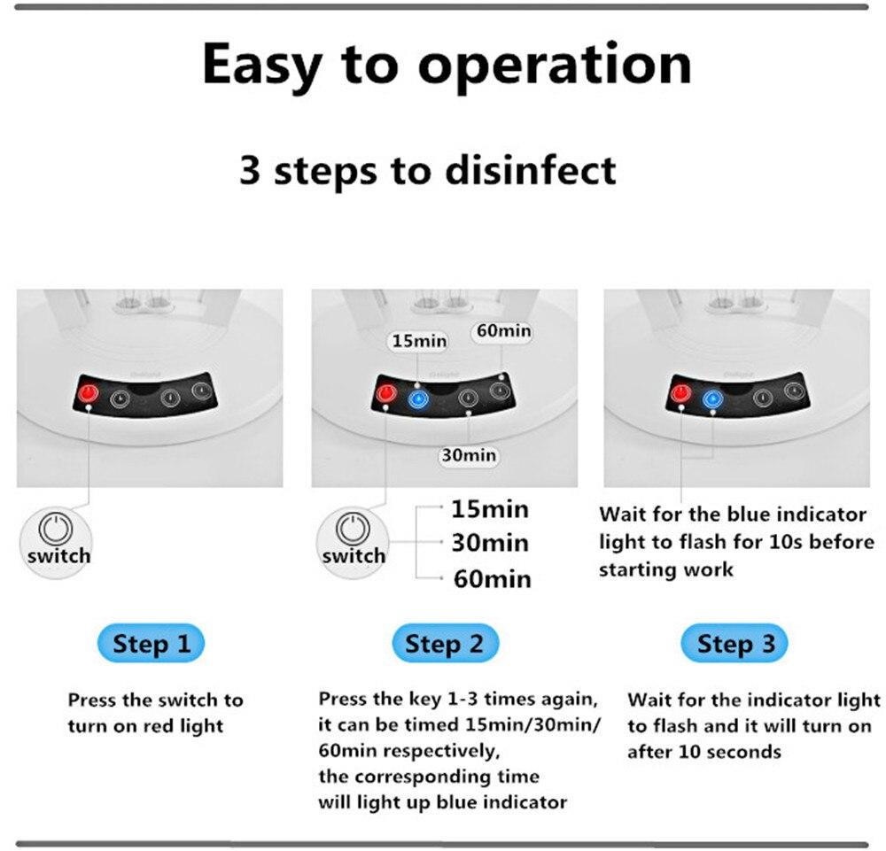 360° 36W Ultraviolet Sterilizer Lamp 220V Germicidal UVC Disinfection Lamp Acaricide Coronavirus Prevention With Remote Control 36