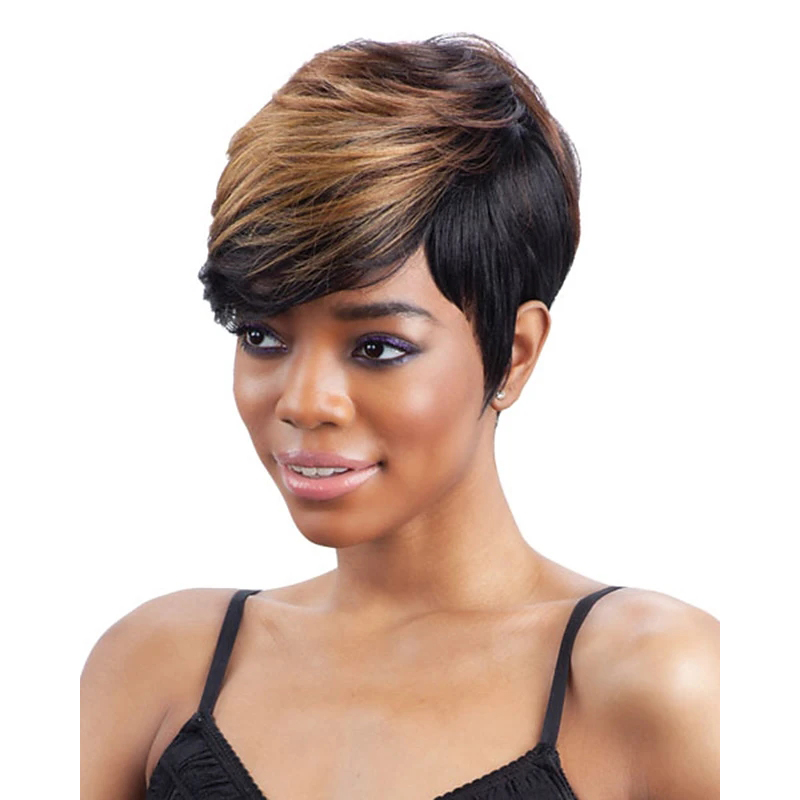 HAIRJOY Synthetic Hair Women Black  Brown Mix Color Wigs  Short Straight Afro Side Party Wig 4 Colors Available