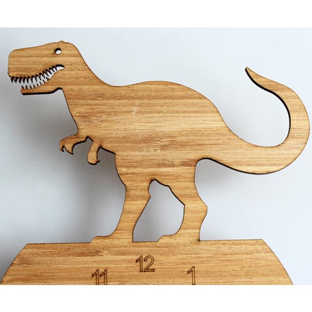 Wooden Wall Clock Modern Design Dinosaur Tyrannosaurus Rex Watch Wall Clocks Home Decor Silent Cute Cartoon Decorative Kids Room