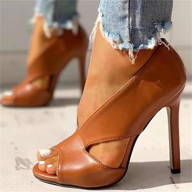 الصيف مضخات أحذية 2020 موضة بلون عادي المفتوحة تو سوبر عالية الكعب رئيس الأسماك مضخات حجم 34-43 النساء الإناث بولي PU الصنادل