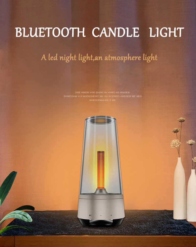 Drahtlose LED Flammenlicht Bluetooth Lautsprecher Tischlampe Weihnachtsgeschenk
