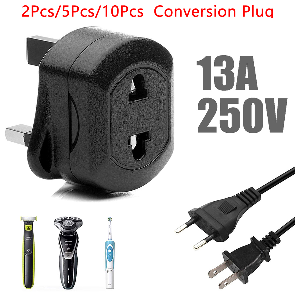New Durable Charger 13A 250V 2 Pin To 3 Pin Fused Adaptor Plug AC Universal Travel Converter For Shaver Toothbrush Adaptor Plug image