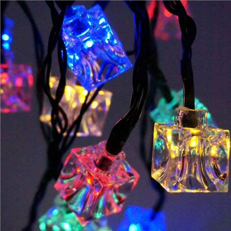 LED Garden Lamp Solar Power Ice Cube Light String Fairy Garland Outdoor Waterproof Holiday Christmas Lights Party Wedding Decor