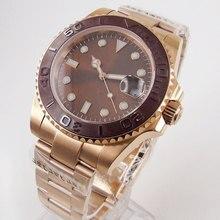 цена BLIGER Nologo Rose Gold Automatic Men Watch MIYOTA Automatic Movement Sapphire Glass Deployment Clasp онлайн в 2017 году