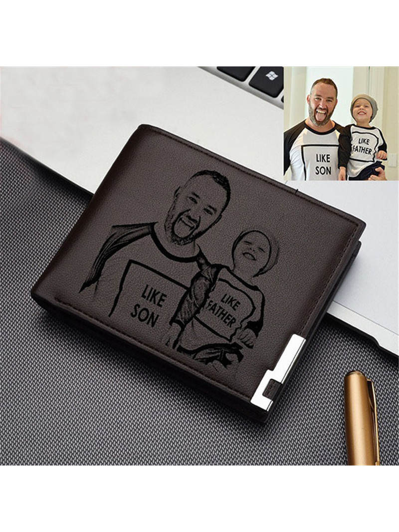 Photo Wallet Engraved Father's-Day-Gift Customized Men Dad for Bifold From-Daughter