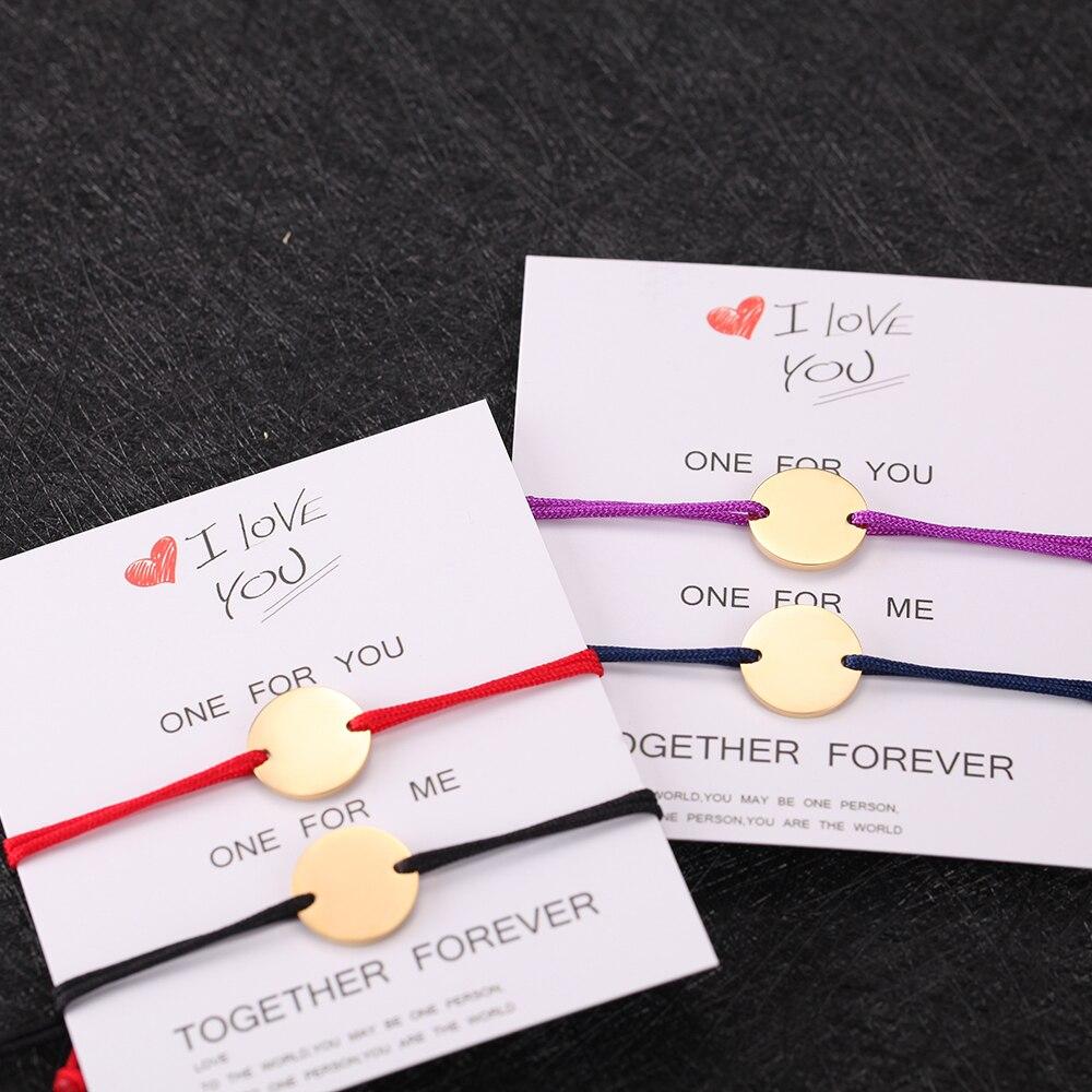 couples Name bracelet Custom women Personalized bracelet Engraving rectangle Custom letter Stainless Steel red rope bracelet2PCS