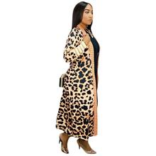Women Leopard Knitted Long Cardigan Open Stitch Long Sleeve Sweater Overcoat Winter Casual Knitted Sweater Coat trendy collarless knitted long sleeve cardigan for women