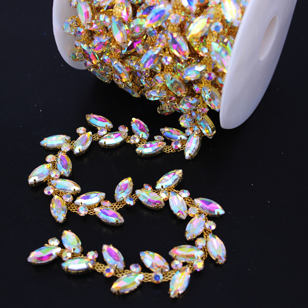 1 Yard Belly Dancing adornment Flower Bouquet Jewelry Gold Rhinestone Chain Trimming For Women Wedding Evening Party Dress Belt