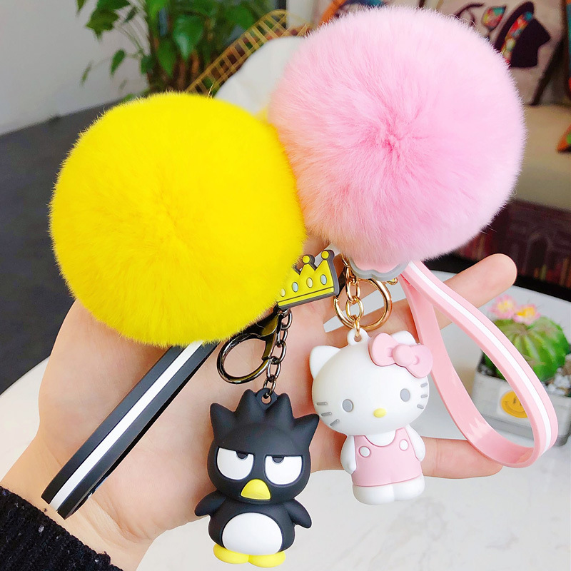 New Cute Cartoon Cartoon Epoxy Key Chain Creative Hair Ball Pendant Cartoon Penguin Key Chain Ring Doll Machine Small Gifts