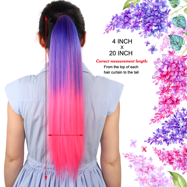 Alileader 20Inch Long Straight Ponytails Synthetic Pony Tail Hair Extensions Drawstring Ponytail Clip In Fake Hair Tail Ombre