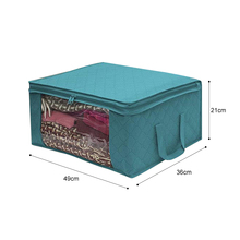 3pcs Non-woven Foldable Storage Box Portable Clothes Organizer  Tidy Pouch Suitcase Home Storage Box Quilt Storage Container Bag