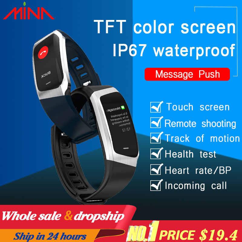 6b9e2c5fbc77 Nuevo Greentiger E18 pulsera inteligente presión arterial Monitor de ...