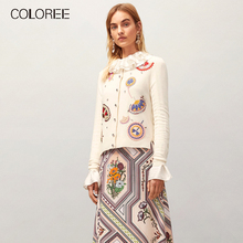 COLOREE 2019 Autumn Women 2 Piece Set Runway Designer White Embroidery Cardigans