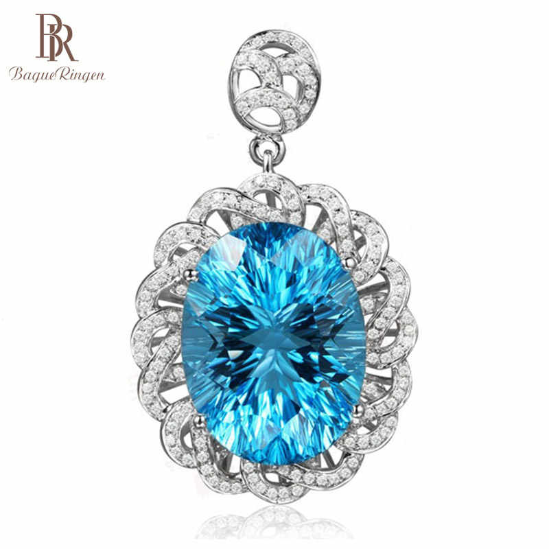 Bague Ringen Gorgeous Oval shaped Aquamarine Necklace for Women Flower Silver 925 Jewelry Geometry Gemstone Anniversary Party