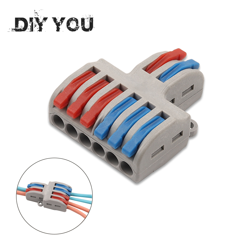1pcs/lot Wire Connector 2 In 4/6 Out Wire Splitter Terminal  SPL-42/62 Compact Wiring Cable Connector Push-in Conductor DIY YOU