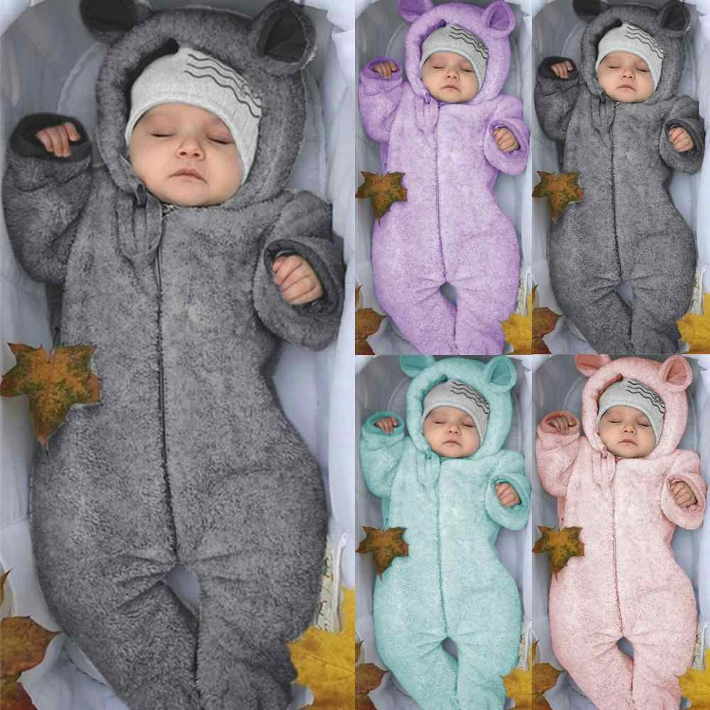 Newborn Baby Boy Winter Fleece Jumpsuit Infant Solid Hooded Baby Romper Warm Coat Outwear Winter Baby Clothes