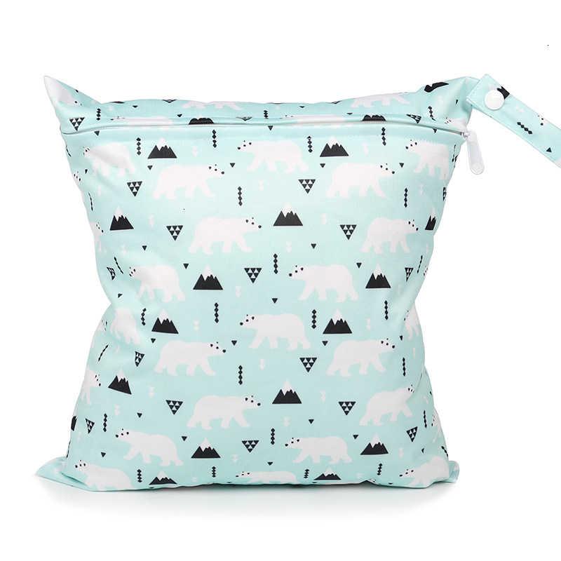 28x30cm Baby organizer na pieluszki mały rozmiar torba torba dla mamy torby na pieluchy wielokrotnego użytku drukowane kieszonkowe TPU wodoodporne podróżne mokre worki wodoodporne