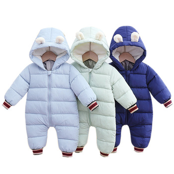 Baby Rompers Winter Hooded Warm Jumpsuit Newborn Baby Boys Girl Cotton Clothes Kids Thicken Rompers Infant Onesie Costume newborn winter baby rompers girls windproof rompers children warm outdoor rompers kids jumpsuits