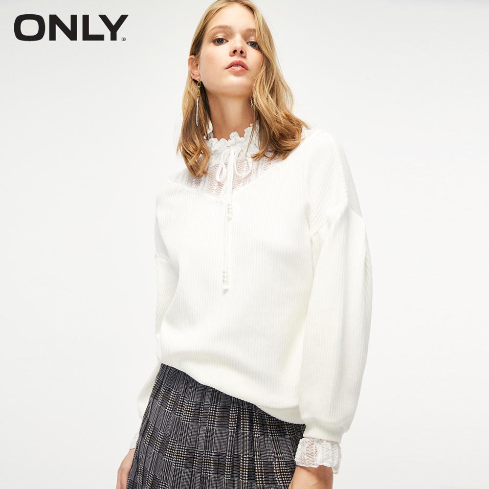 ONLY Women's MocK Neck Lace Splice Lace-up Corduroy Sweatshirt | 11919S503