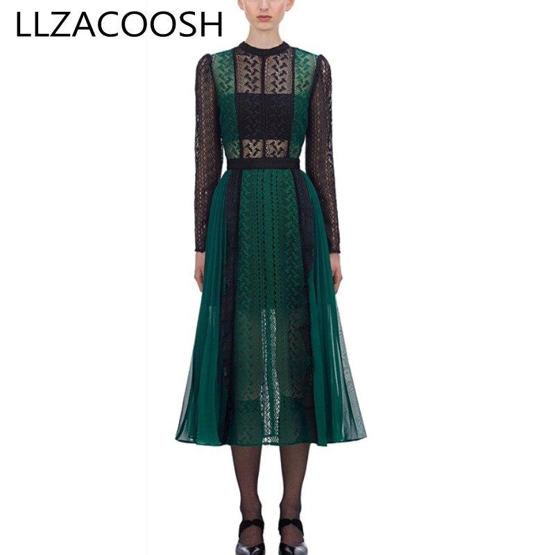 Auto portrait robe 2019 automne vert mousseline de soie plissée dentelle robe femmes à manches longues évider voir à travers Patchwork longue robe