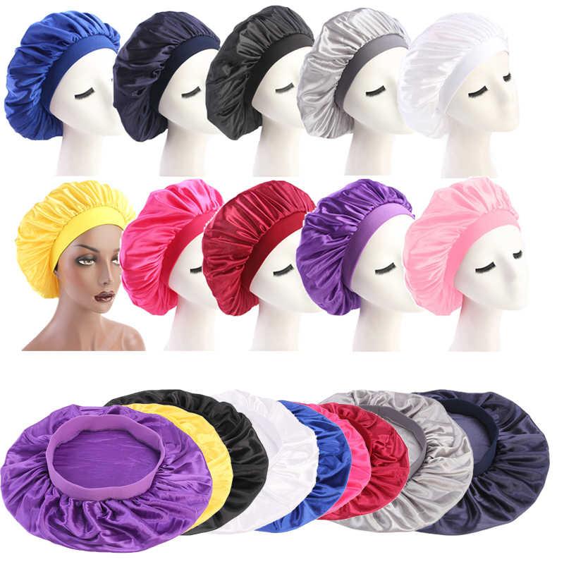 Твердый сатиновый головной убор 58 см, с регулировкой, для укладки волос, с длинным ворсом, для ночного сна, для женщин, с шелковой головкой, для душа, инструмент для укладки волос