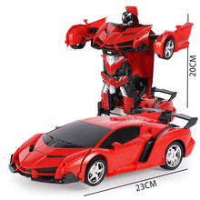 лучшая цена New Rc Transformer 2 In 1 Rc Car Driving Sports Cars Drive Transformation Robots Models Remote Control Car Rc Fighting Toys Gift