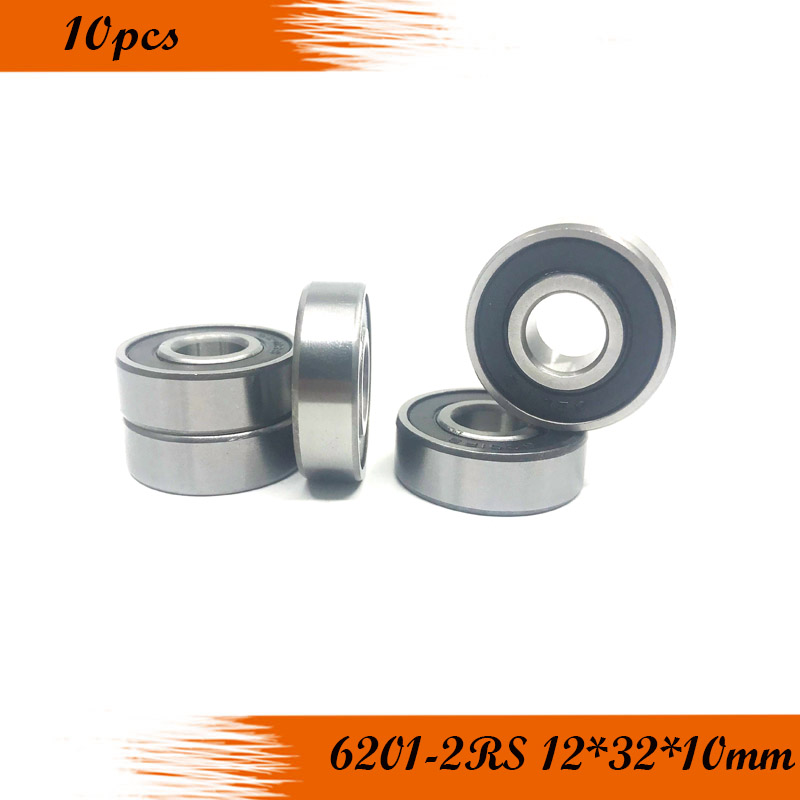 Free Shipping 10Pcs 6201-2RS 6201RS 6201 RS 12*32*10mm ABEC-1 Deep Groove Ball Bearings 12 X 32 X 10mm
