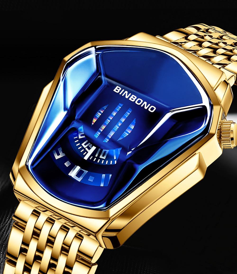 Relojes Hombre 2020 BINBOND Luxury Brand Stainless Steel Watch for Men Waterproof Quartz Casual Male Sport Heren Horloge Fashion
