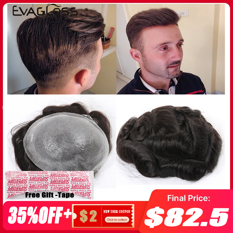 EVAGLOSS Indian Human Hair Men Toupee Thin Skin Mens Wig V Loop Replacement Hair Pieces System