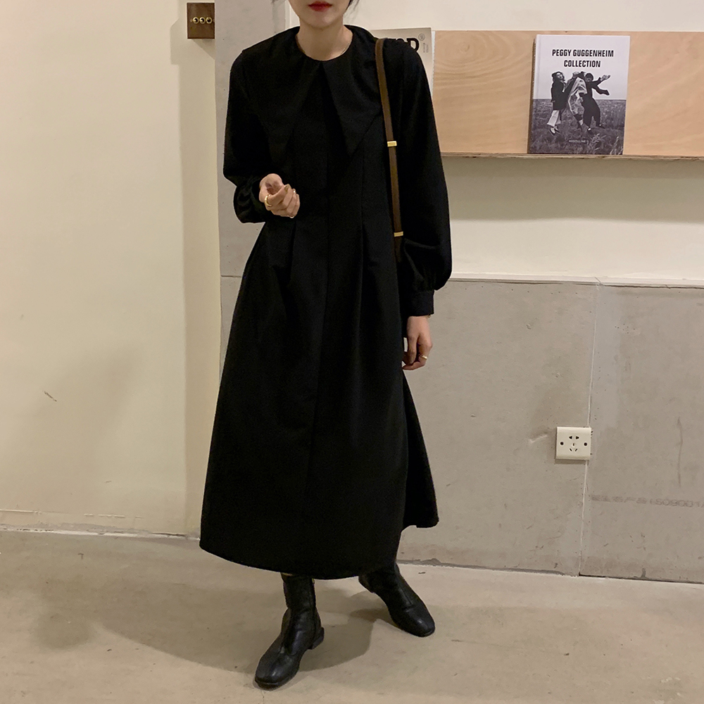 H4a24cd419e4342c7a6bceec9fc09b172s - Autumn Big Lapel Collar Long Lantern Sleeves Solid Loose Midi Dress