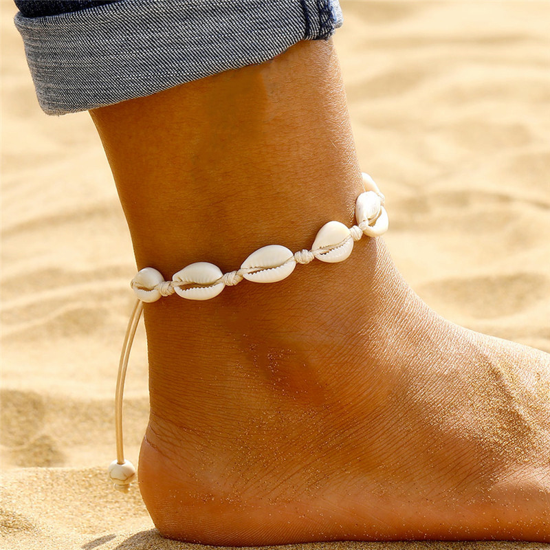 New Bohemian Shell Anklets for Women Handmade Woven Natural Shell Foot Jewelry Summer Beach Barefoot Bracelet ankle on Leg