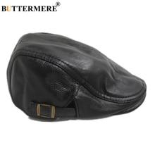 BUTTERMERE Flat Cap for Men Genuine Leather Beret Hat Cowhide Khaki Black Male F