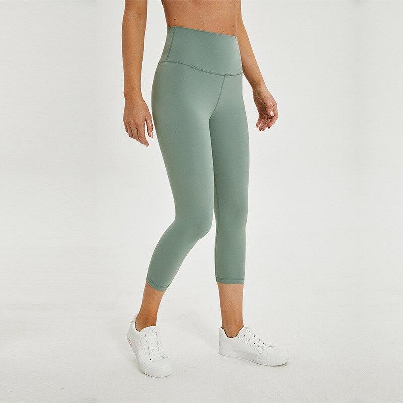 Soft Female Athletic Fitness Capri Leggings Women Stretchy High Waist Gym Sport Tights Internal Pocket Cropped Yoga Pants Women