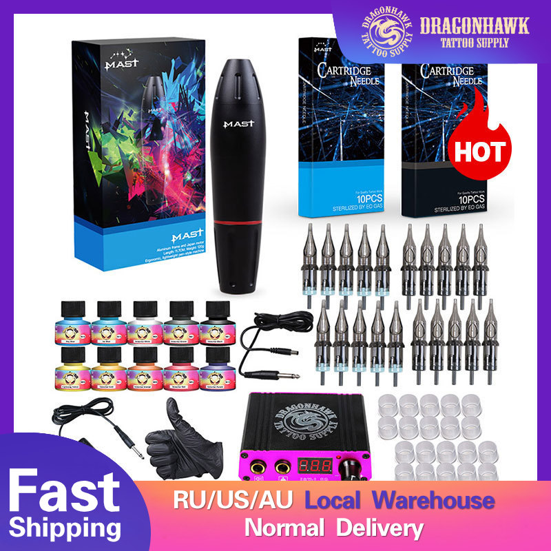 Guns Makeup-Machine Cartridge-Needles Tattoo-Kits Power-Supply Professional D3029 Color-Inks