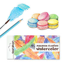 Colored-Pencil-Set Watercolor Pre-Sharpened Drawing Wooden Adults 12 B for Soluble