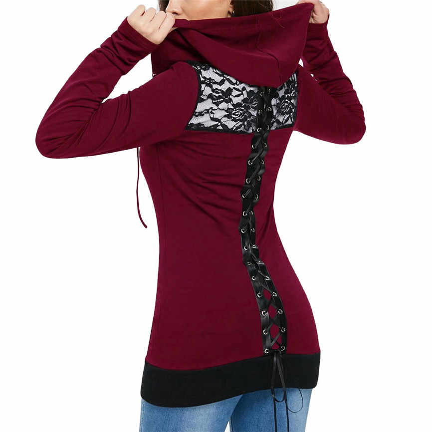 Women's Bandage Sweatshirts 1PC Women Sweatshirt Bandage Long Sleeve Casual Blouse Lace Up Back Zip Up Women's Hoodie Sweatshirt