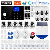 FUERS WIFI 4G Alexa Tuya sistema di allarme di sicurezza domestica intelligente controllo Wireless sirena solare rilevatore di movimento telecamera con sensore di fumo PIR