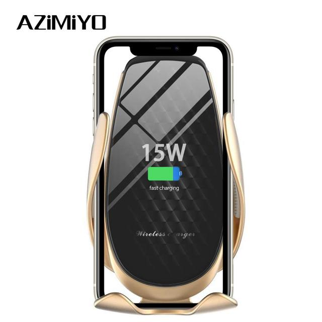 AZiMiYO 15W Wireless Car Charger Automatic Clamping phone Holder For iPhone 11 Pro xr Huawei Samsung Smart Phone