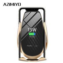 AZiMiYO 15W kablosuz araç şarj cihazı otomatik sıkma telefon tutucu iPhone 11 Pro xr Huawei Samsung akıllı telefon