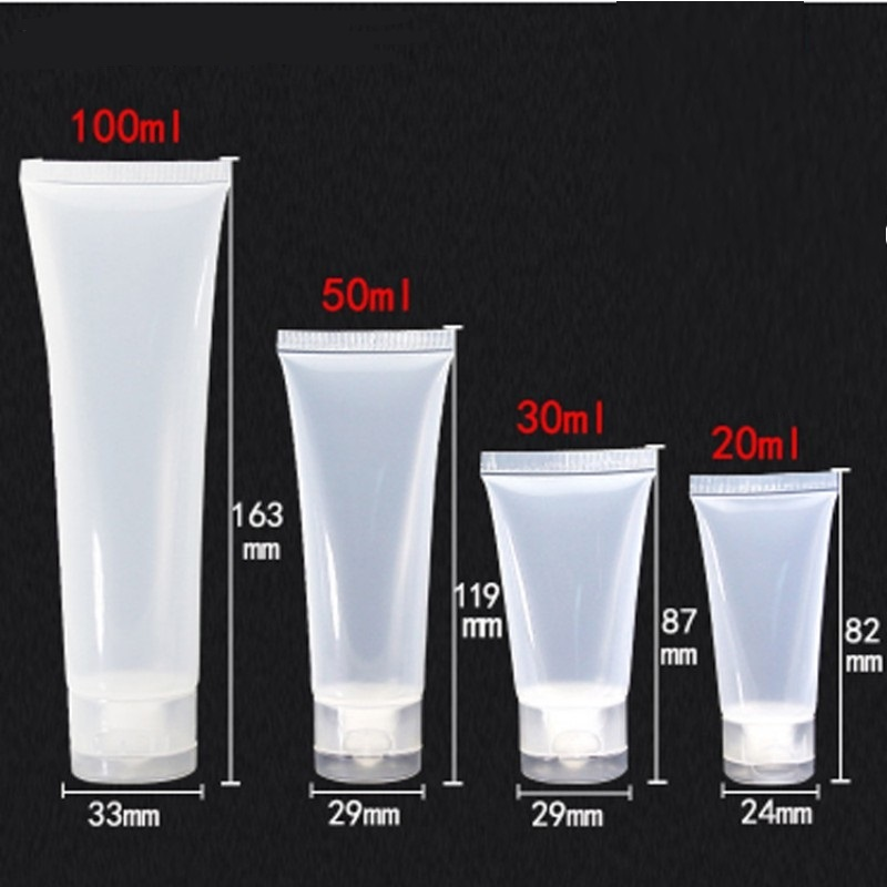 Empty Portable Travel Tubes Squeeze Cosmetic Containers Cream Lotion Plastic Bottles 20ml 50ml 30ml 100ml