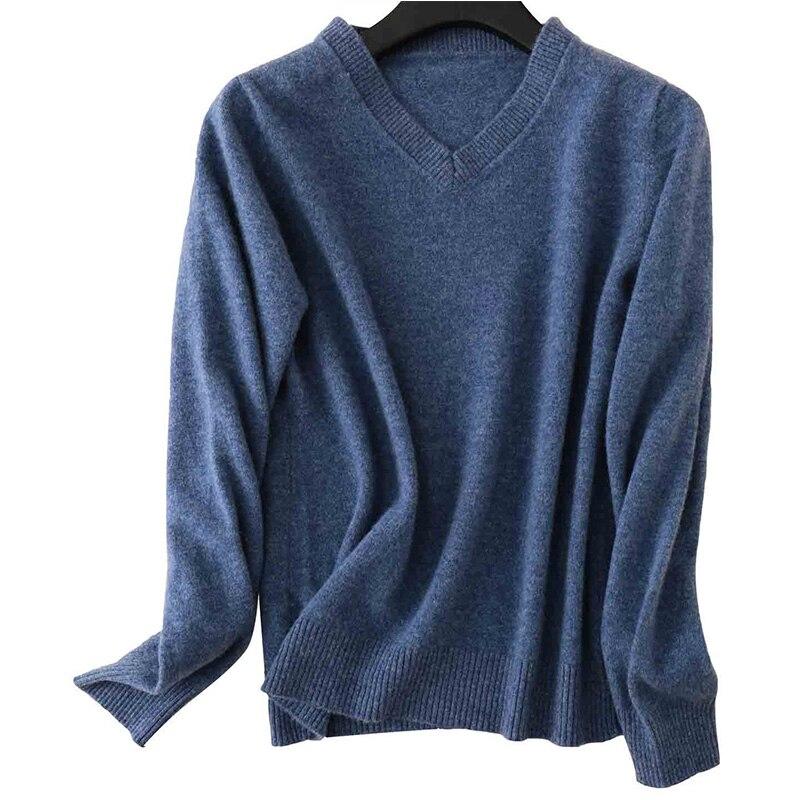 100% Merino Wool Women V-Neck Sweater 2020 Autumn Winter Warm Soft knitted Pullover Femme Jumper Women Cashmere Sweater 15