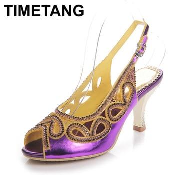 TIMETANGRhinestone Peep Toe Lady's Sandals High Heels Stiletto Heel Fashioin Women's Shoes Bowtie Gold Color Crystal Prom Pumps