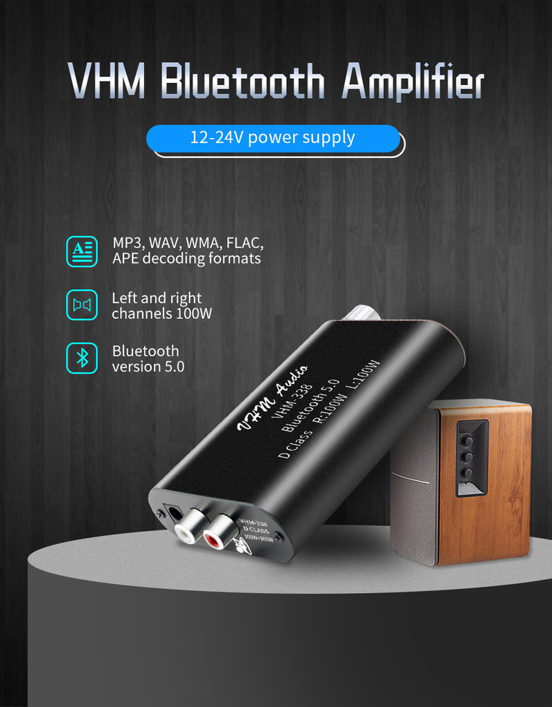VHM-338 100WX2 TPA3116, Amplificador Digital de alta potencia con Bluetooth 5,0, placa estéreo, Amplificador AUX, RCA, USB para cine en casa
