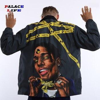 Harajuku hombres chaquetas Hip Hop gráfico divertido impresión Vintage Streetwear Oversize Windbreak abrigos para hombres otoño abrigos