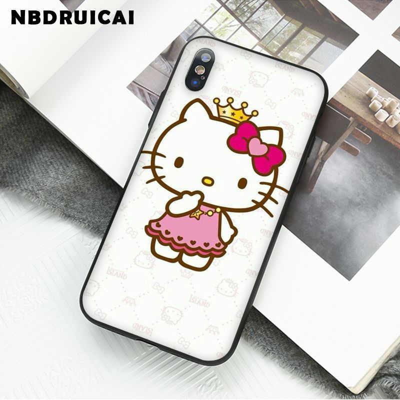 Nbdruicai Mooie Roze Hello Kitty Hoge Kwaliteit Siliconen Telefoon Case Voor Iphone 11 Pro Xs Max 8 7 6 6S Plus X 5 5S Se Xr Case