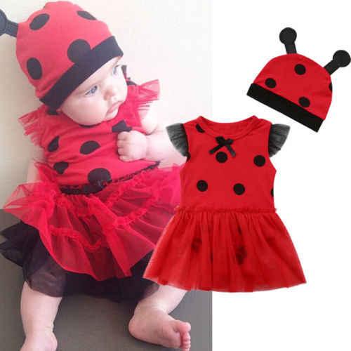 Новый стиль, божья коровка, красный комбинезон для маленьких девочек, платье-пачка в горошек + шляпа, рождественские вечерние комплекты одежды для малышей на Хэллоуин