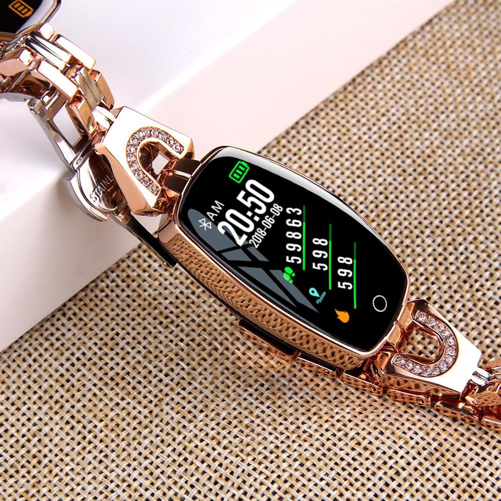 H4a25e5d4281e47ff9a0904bdb664379fp H8 Women Smart watch Fashion Heart Rate Monitor Blood Pressure Smart Band IP67 Waterproof Fitness Activity Tracker lady bracelet