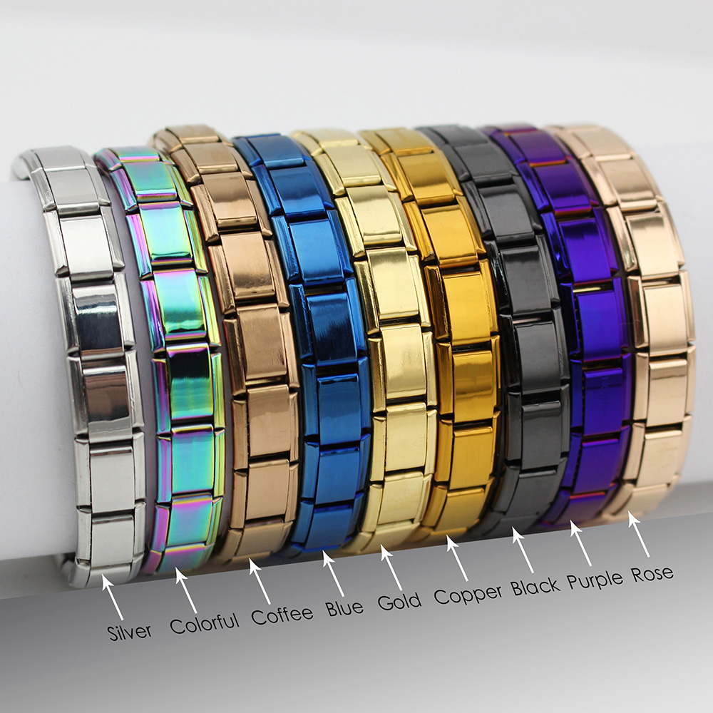 Hapiship 2018 Women's Jewelry 9mm Width Itanlian Elastic Charm Bracelet Fashion Stainless Steel Bangle ST-