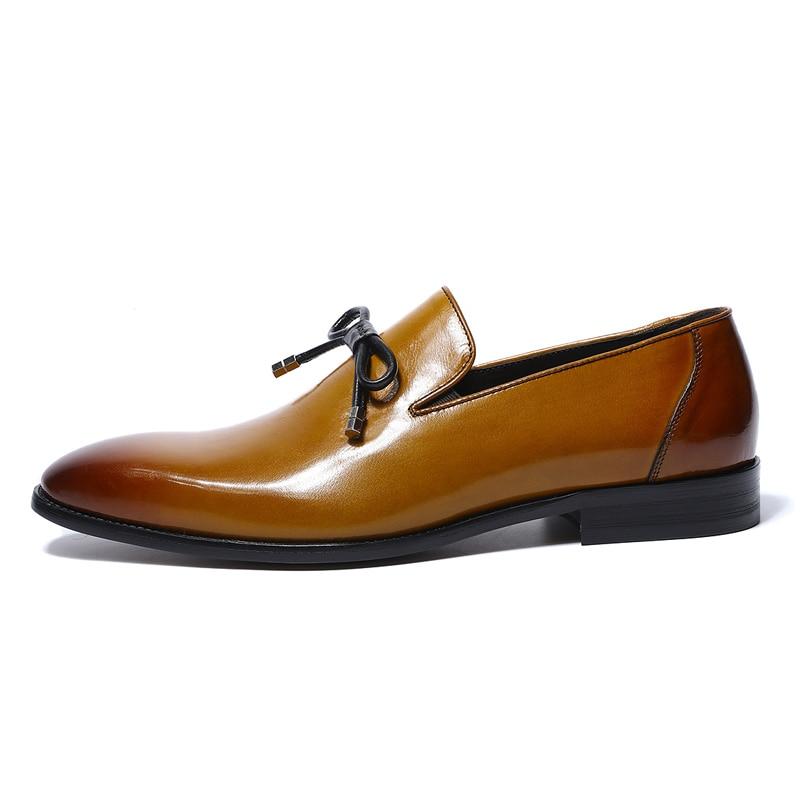 Zapatos de vestir para hombre de cuero genuino de nuevo diseño de Primavera de 2019, para fiesta de boda, para hombre, mocasines formales amarillos con corbata de lazo-in Zapatos formales from zapatos    3