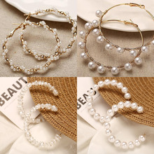 LETAPI Oversize Pearl Big Earrings For Women Girls Unique Circle Earring 2019 New Brinco Statement Fashion Jewelry